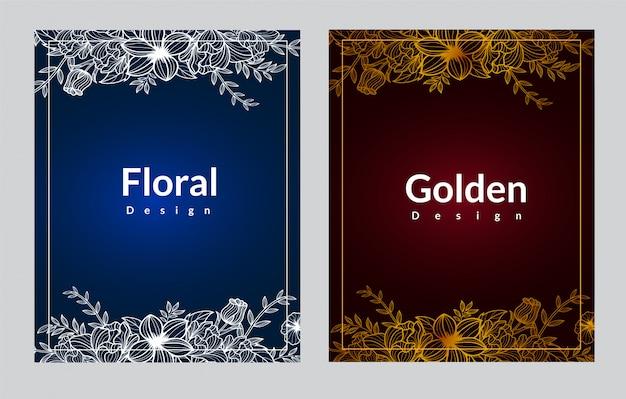 Elegante diseño de plantilla de portada floral en blanco y dorado
