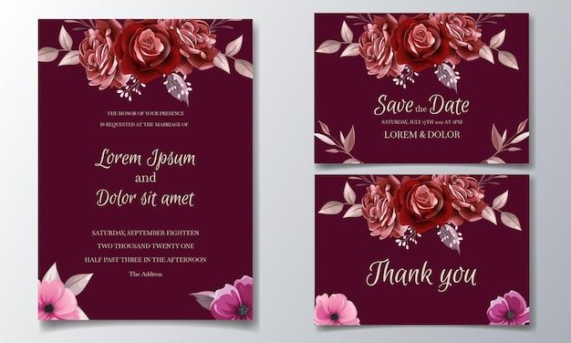 Elegante diseño de plantilla de tarjeta de invitación de boda con flores y hojas de rosa granate
