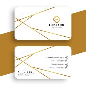 Elegante diseño de plantilla de tarjeta de visita mientras que oro