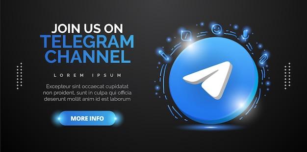 Elegante diseño promocional para presentar su cuenta de telegram. diseño vectorial.