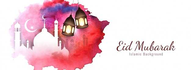 Elegante diseño religioso de eid mubarak.