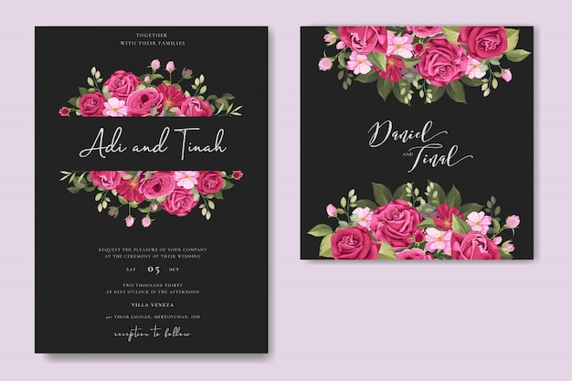 Elegante diseño de tarjeta de boda con plantilla de corona de rosas hermosas
