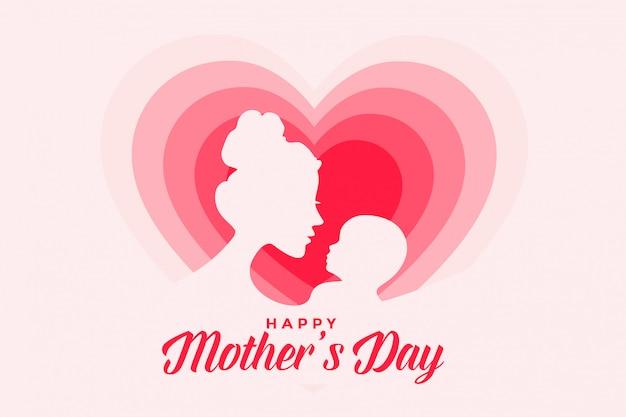 Elegante diseño de tarjeta del día de las madres felices con corazones