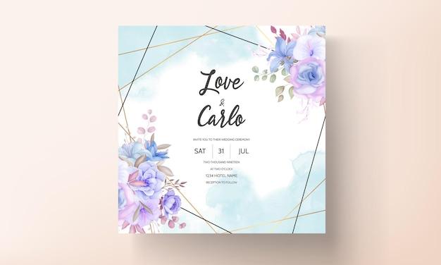 Elegante diseño de tarjeta de invitación de boda con flores y hojas.
