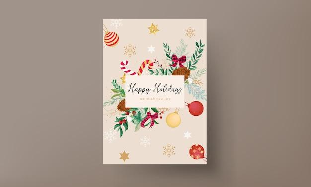 Elegante diseño de tarjeta navideña con adornos navideños y hermosas hojas.