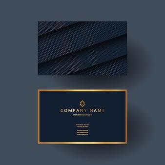 Elegante diseño de tarjeta de presentación en azul y dorado.