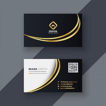 Elegante diseño de tarjeta de visita creativa dorada.