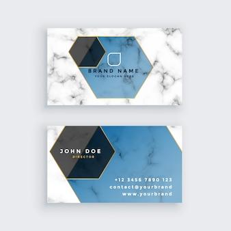 Elegante diseño de tarjeta de visita en mármol geométrico.