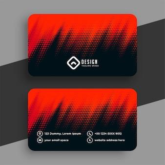 Elegante diseño de tarjeta de visita negra de semitono rojo