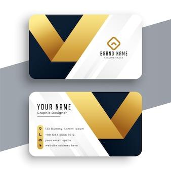 Elegante diseño de tarjeta de visita premium dorada.