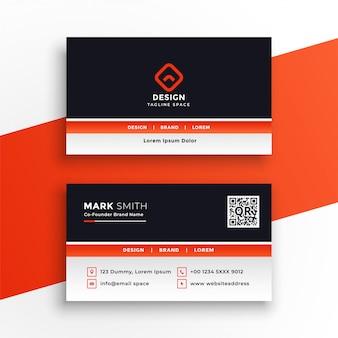 Elegante diseño de tarjeta de visita profesional de color naranja.