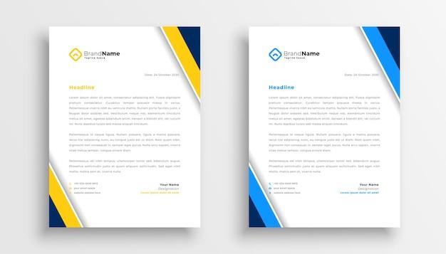 Elegante diseño de tema amarillo y azul con membrete para su negocio