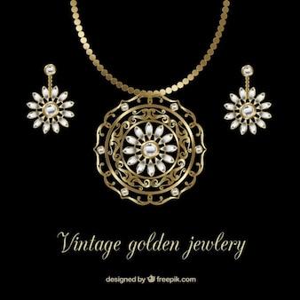 Elegante y dorado collar con pendientes
