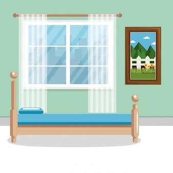 Elegante dormitorio escena clásica