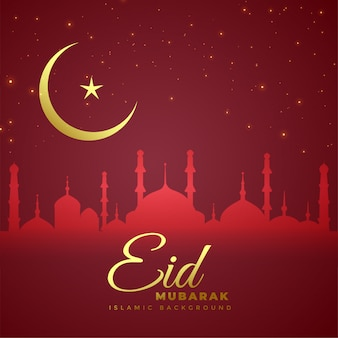 Elegante eid mubarak rojo con luna dorada.