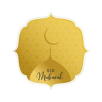 Elegante eid mubarak saludo de oro con la parte superior de la mezquita