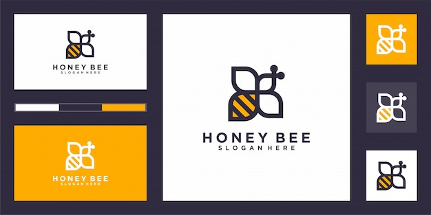 Elegante empresa logo vector abeja.