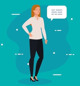 Elegante empresaria ejecutiva con diseño de ilustración de burbujas de discurso