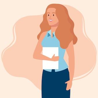 Elegante empresaria ejecutiva con diseño de ilustración de documento