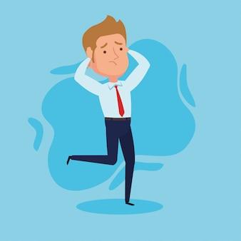 Elegante empresario preocupado corriendo