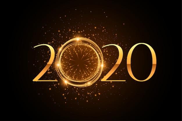 Elegante estilo de fuegos artificiales 2020 fondo dorado brillo