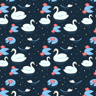 Elegante estilo de patrón de cisne