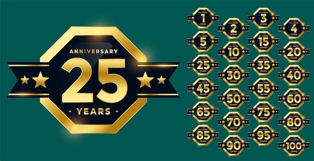 Elegante etiqueta de aniversario y distintivo en conjunto dorado