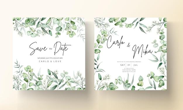 Elegante eucalipto deja tarjeta de invitación de boda acuarela Vector Premium