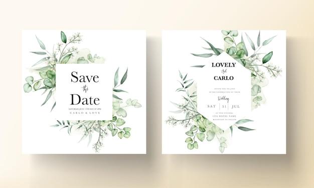 Elegante eucalipto deja tarjeta de invitación de boda acuarela