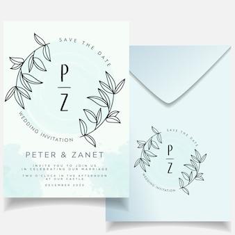 Elegante evento femenino conjunto de tarjetas de invitación de boda botánico
