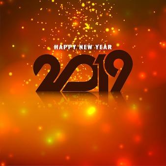 Elegante feliz año nuevo 2019 brilla saludo fondo