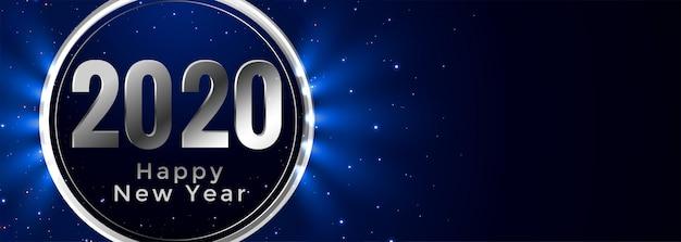 Elegante feliz año nuevo 2020 brillante bandera azul