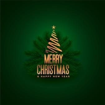 Elegante feliz árbol de navidad y hojas verdes