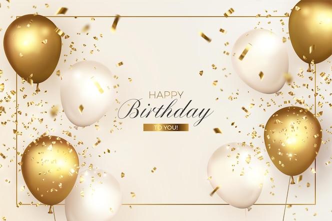Elegante feliz cumpleaños con globos realistas