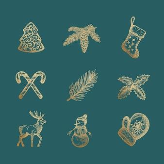 Elegante feliz navidad y feliz año nuevo resumen signos, etiquetas o conjunto de iconos.