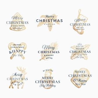Elegante feliz navidad y feliz año nuevo resumen signos, etiquetas o conjunto de plantillas de logotipo.