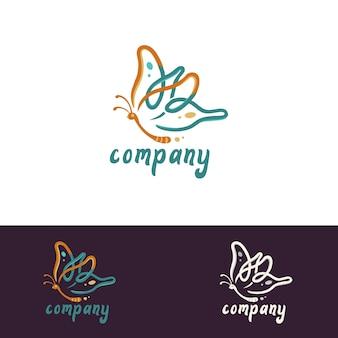 Elegante femenino simple butterfly logo