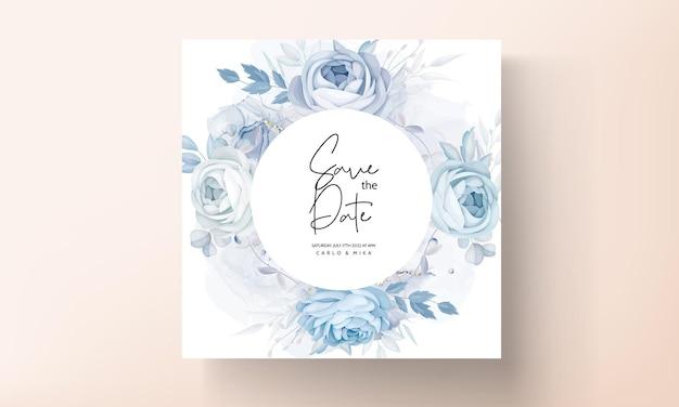 Elegante flor de peonía azul y hojas de diseño de tarjeta de invitación de boda