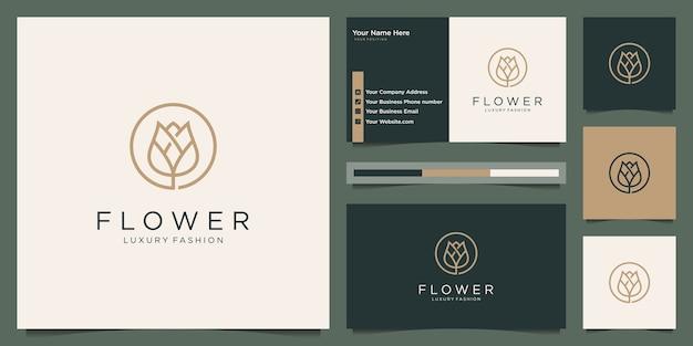 Elegante flor rosa belleza, yoga y spa. diseño de logotipo y tarjeta de visita