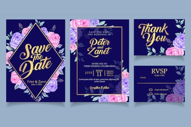 Elegante floral acuarela invitación plantilla de tarjeta de boda retro