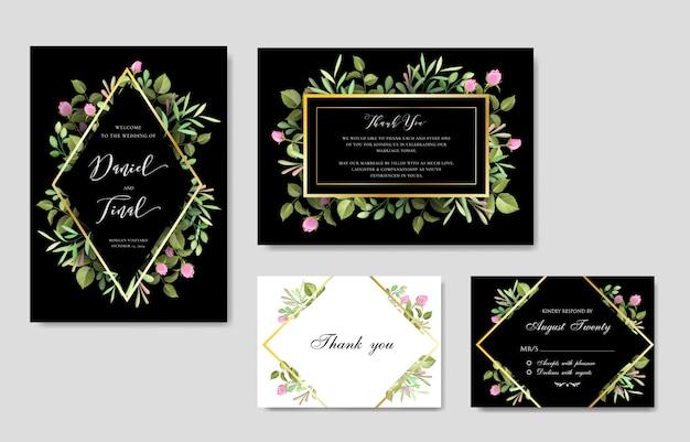 Elegante floral y hojas de plantilla de tarjeta de boda e invitación