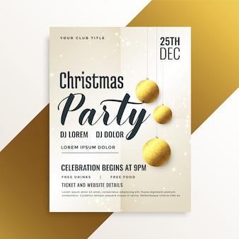 Elegante flyer de fiesta navideña con bolas doradas.