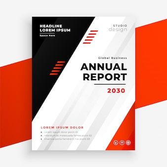 Elegante folleto de informe anual de negocios en color rojo.