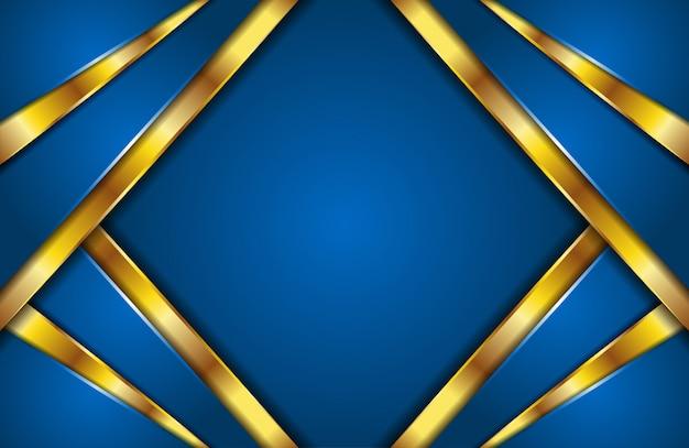 Elegante fondo abstracto moderno líneas azules y doradas