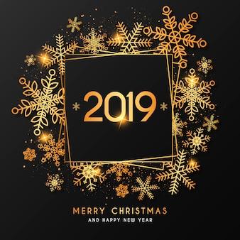 Elegante fondo de año nuevo con marco dorado