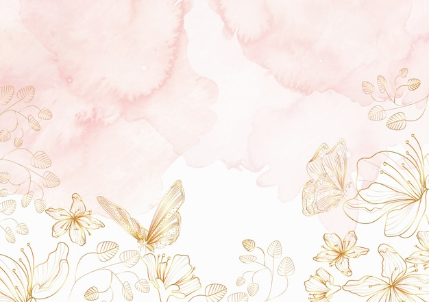Elegante fondo de arte de línea floral y mariposas