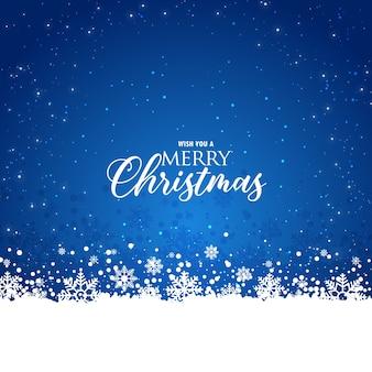 Elegante fondo azul de navidad con copos de nieve