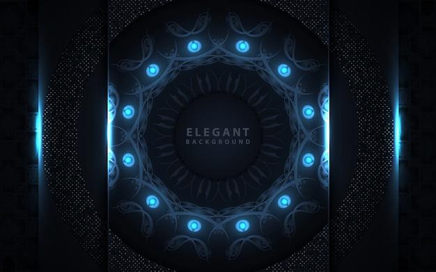 Elegante fondo azul oscuro con decoración de mandala