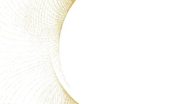 Elegante fondo blanco con forma de curva de brillo dorado