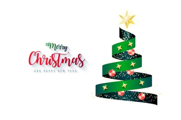 Elegante fondo con cinta de árbol de navidad